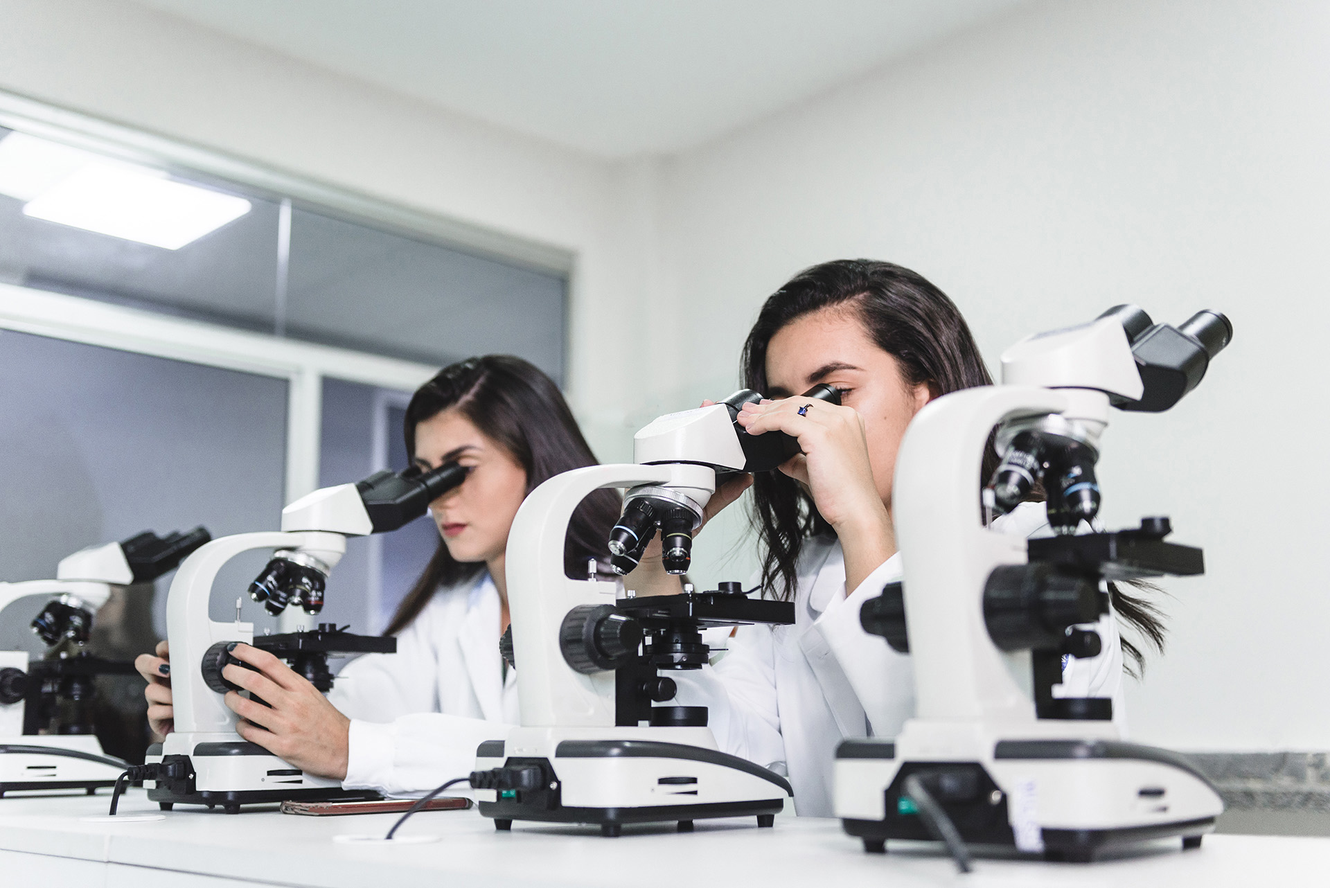 female health students in the laboratory using microscopes