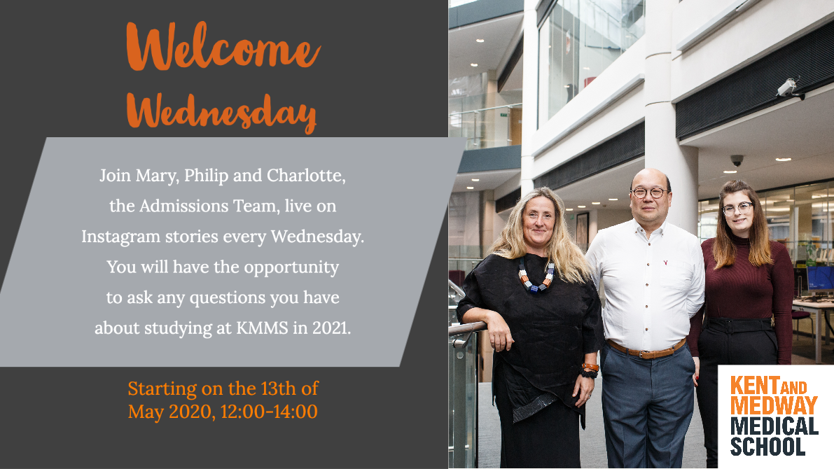 Welcome Wednesday invitation showing the Admissions Team Mary, Philip and Charlotte (left to right)