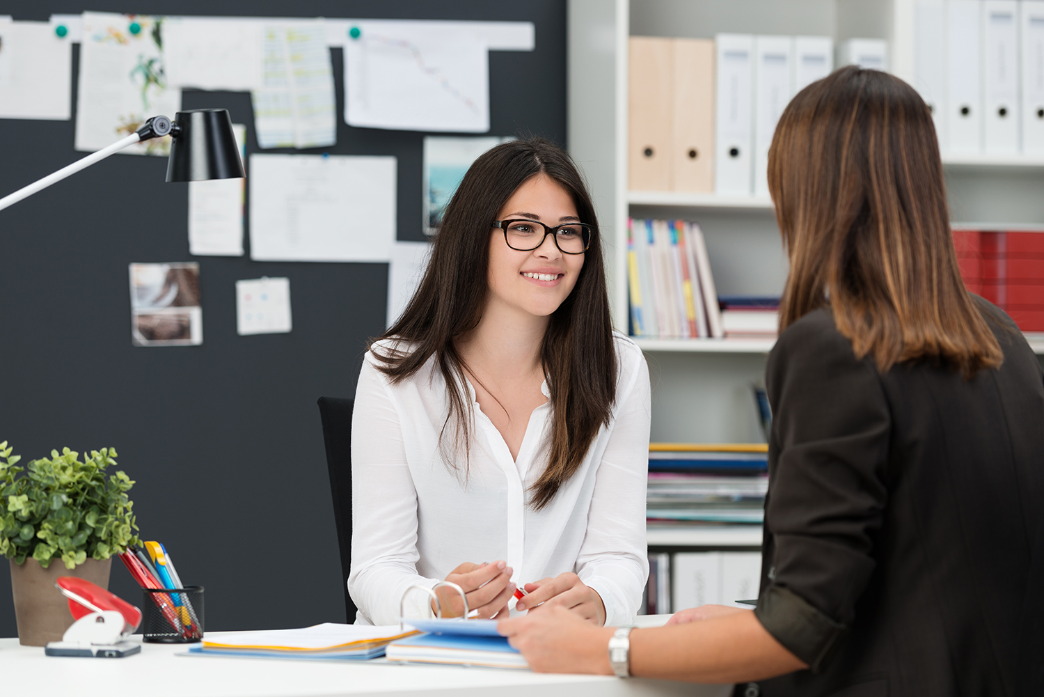 image of two females seated in an office