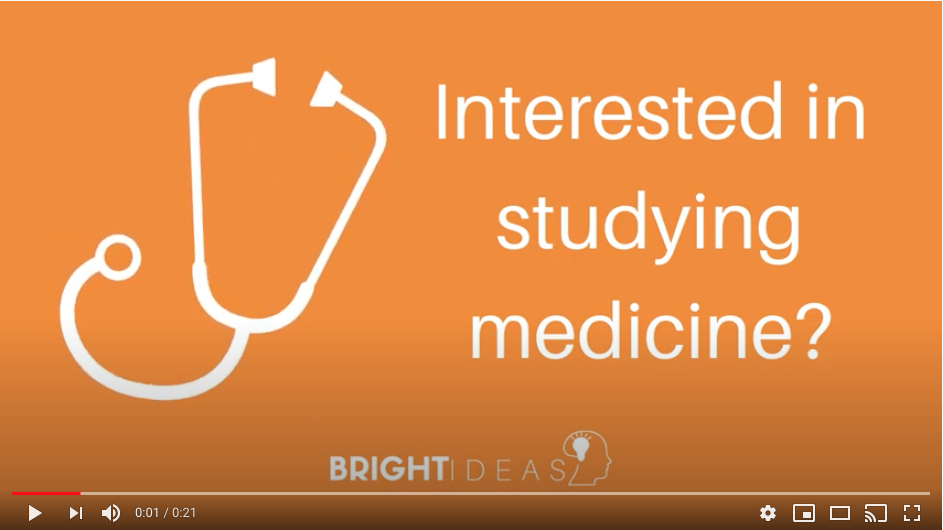Graphic for Bright Ideas promotion stethoscope and wording Interested in studying medicine?
