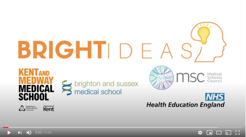 Bright Ideas, KMMS, Brighton and Sussex Medical School, NHS Health Education England Logos