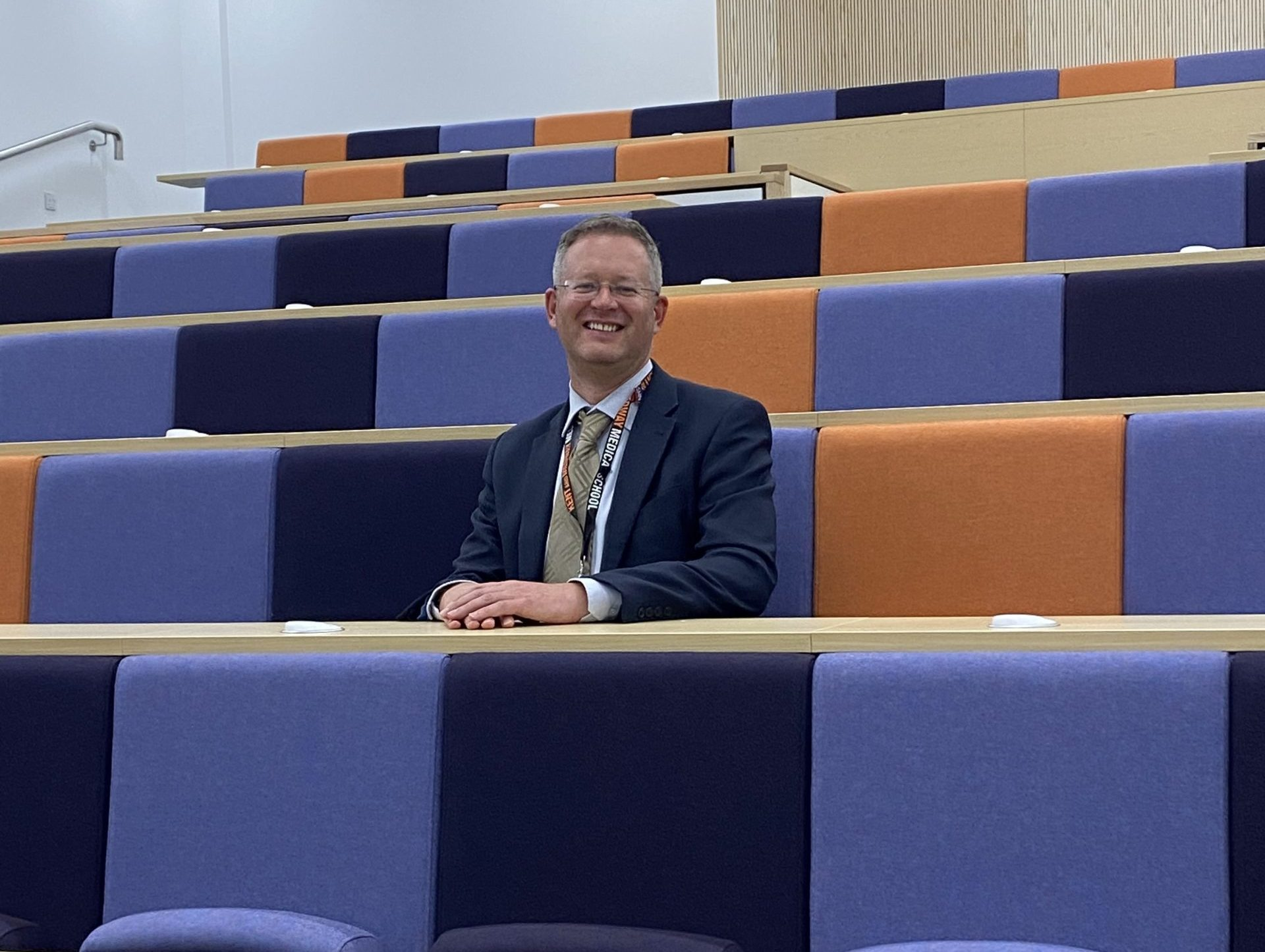Image of Professor Chris Holland in the Lecture Theatre, Pears Building