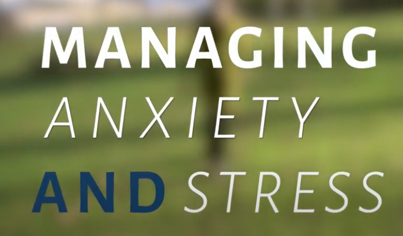 Managing Anxiety and Stress text against a green backdrop